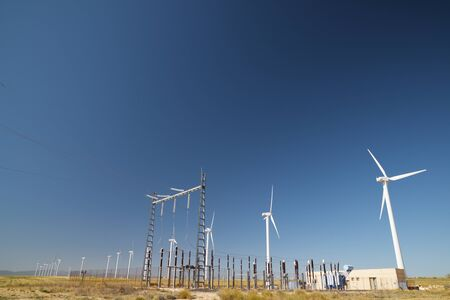 Windmills and electrical substation, Zaragoza province, Aragon, Spain. Banco de Imagens