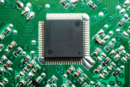 Close-up of an integrated circuit.