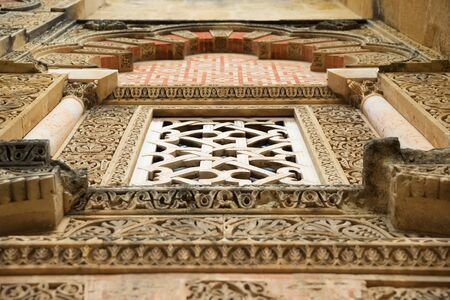 Facade detail of Cordoba Mosque in Andalusia, Spain.