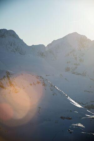 Snowy peak in Canfranc Valley, Pyrenees, Huesca, Aragon, Spain.