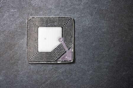 Rfid tag on a metal table Stock Photo