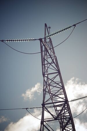 Power line in Huesca Province, Aragon, Spain.