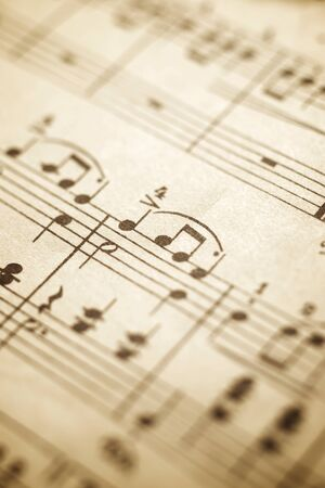 Close-up of an old musical score.