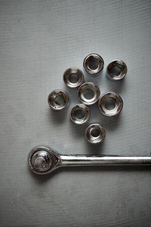 Socket wrench on a stone table 版權商用圖片 - 138255709