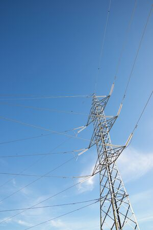 Power line in Zaragoza Province, Aragon in Spain. Banque d'images