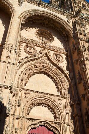Exterior view of Salamanca Cathedral, Castilla Leon in Spain. Banco de Imagens