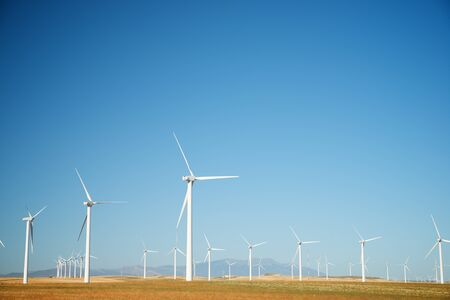 Windmills for electric power production, Zaragoza province, Aragon, Spain. 写真素材 - 138439683