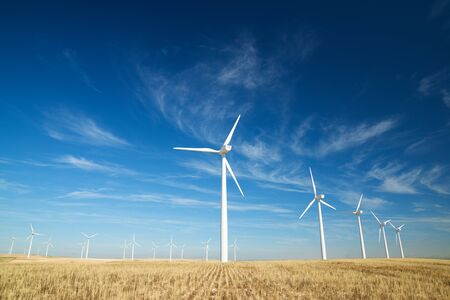 Windmills for electric power production, Zaragoza province, Aragon, Spain. 写真素材 - 138439616