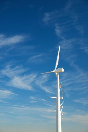 Windmills for electric power production, Zaragoza province, Aragon, Spain. 写真素材 - 138440434