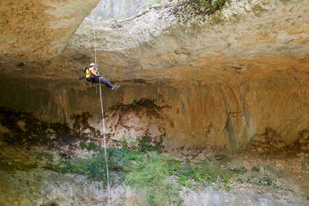 Canyoning in Guara Mountains, Huesca Province, Aragon, Spain. Stock Photo