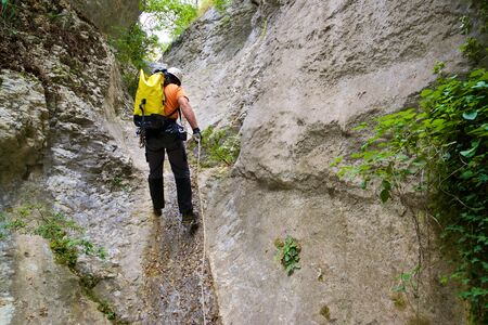 Canyoning in Guara Mountains, Huesca Province, Aragon, Spain.