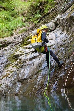 Canyoning in Lapazosa Canyon, Bujaruelo Valley, Pyrenees, Huesca Province, Aragon, Spain.