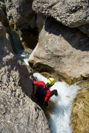 Canyoning in Gorgonchon Canyon, Guara Mountains, Huesca Province, Aragon, Spain.