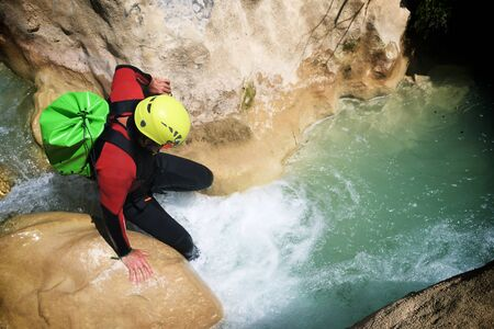 Canyoning in Vero river, Guara mountains, Huesca Province, Aragon in Spain.