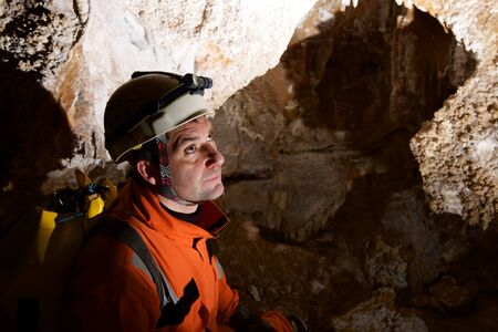 Caving in Zaragoza Province, Aragon, Spain.