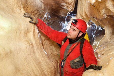 Caving in Zaragoza Province, Aragon, Spain. Imagens