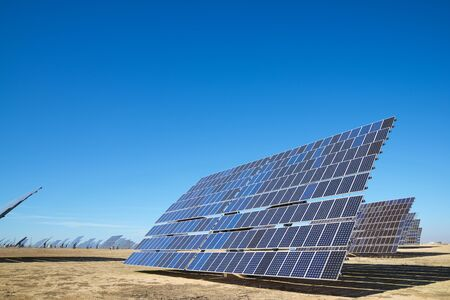 Huge solar panels for electric production in Zaragoza Province, Aragon, Spain.