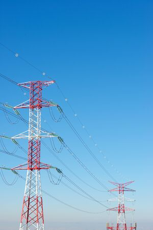 Power line and clear sky in Zaragoza province, Aragon in Spain.