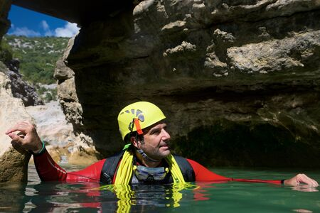 Canyoning in Oscuros del Balcez Canyon, Guara Mountains, Huesca, Aragon, Spain.