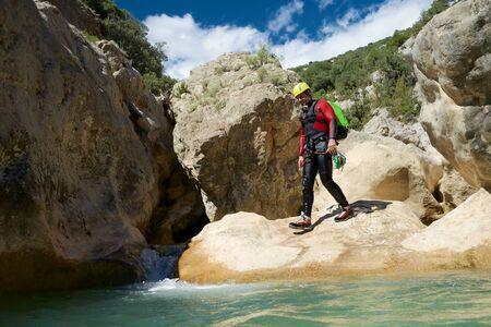 Canyoning in Oscuros del Balcez Canyon, Guara Mountains, Huesca, Aragon, Spain. Stock fotó