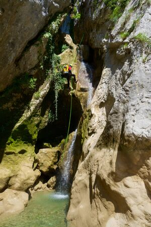 Canyoning in Fago Canyon, Pyrenees, Huesca Province, Aragon in Spain.