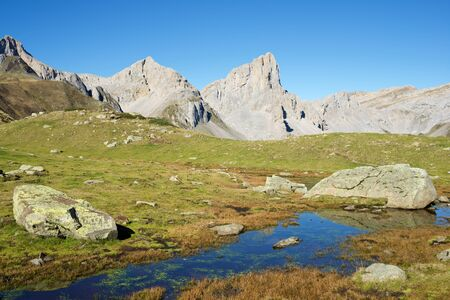 Aiguilles du Ansabere in Lescun Cirque. Aspe Valley, Pyrenees, France. 版權商用圖片