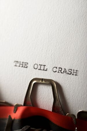 The sentence, The Oil Crash, written with a typewriter.