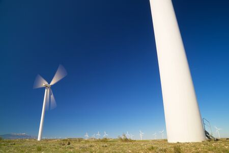 Windmills for electric power production, Zaragoza province, Aragon in Spain.
