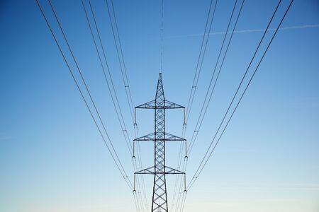 Power line in Zaragoza province, Aragon in Spain.
