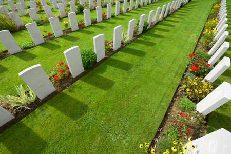 Bayeux, France - August 20, 2014: Headstones lined up in the British cemetery 報道画像