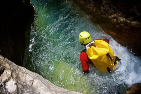 Canyoning in Formiga Canyon, Guara Mountains, Huesca Province, Aragon, Spain.