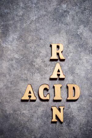 Acid rain text on a gray paper.