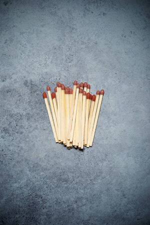 Matches on a stone table.