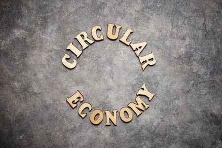 Circular economy text on a gray paper. 版權商用圖片