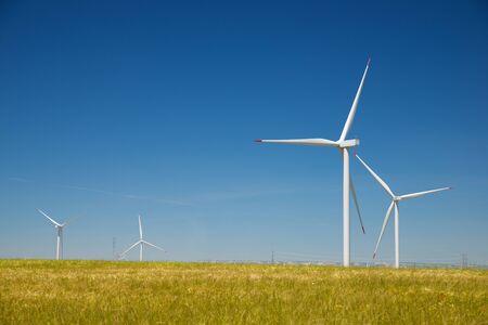 Wind turbines for electric power production, Zaragoza province, Aragon in Spain. Stock fotó