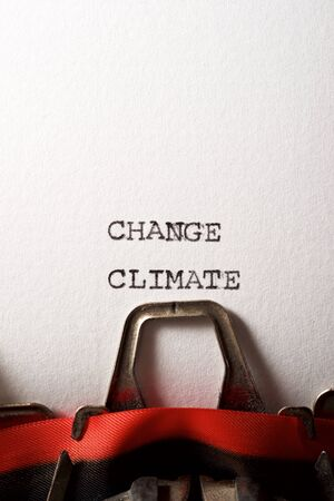 Change climate text written with a typewriter.