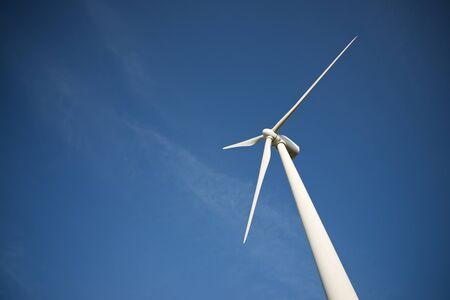 Wind turbine for electric power production, Zaragoza province, Aragon in Spain. Foto de archivo
