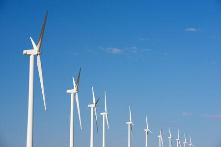 Wind turbines for electric power production, Zaragoza province, Aragon in Spain. Foto de archivo