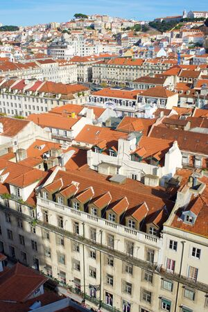 Lisbon, Portugal - December 29, 2014: Aerial view of old town.