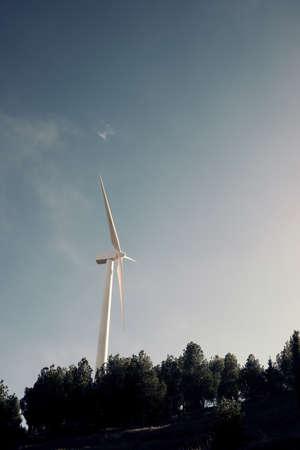 Wind turbine for electric power production, Zaragoza province, Aragon in Spain. 版權商用圖片