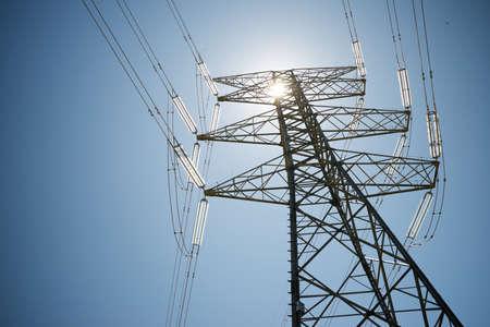 Power line in Zaragoza province, Aragon in Spain. Stock Photo