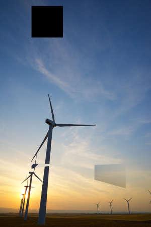 Wind turbines for electric power production, Zaragoza province, Aragon in Spain. 版權商用圖片