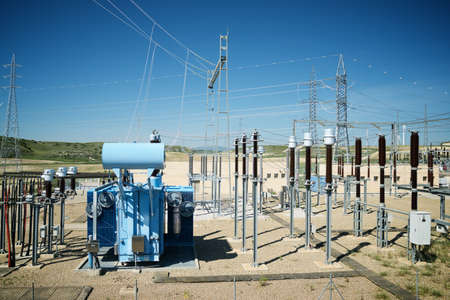Electrical substation view in Zaragoza province, Aragon in Spain.