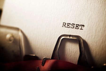 Reset word written with a typewriter.