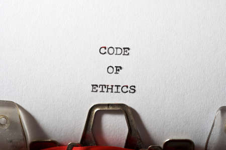 Code of ethics text written with a typewriter. Banque d'images