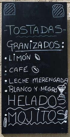 Closeup of a typical spanish menu in Zaragoza, Aragon in Spain.