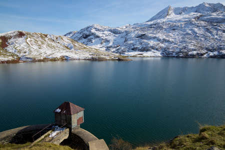Dam in Estanes lake in Canfranc Valley, Pyrenees in Huesca province, Aragon in Spain.