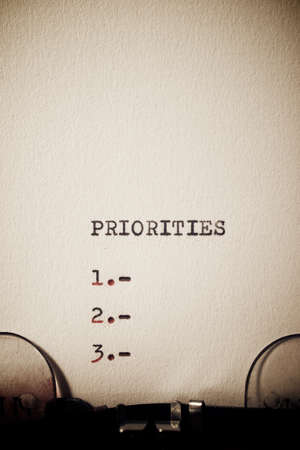 Priorities word written with a typewriter.