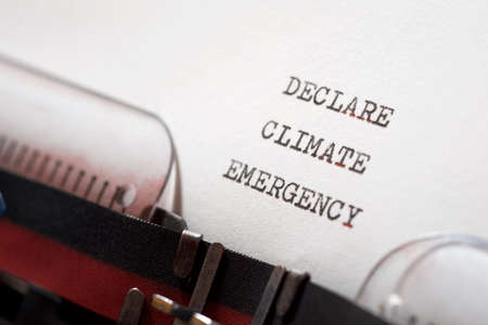 Declare climate emergency phrase written with a typewriter.
