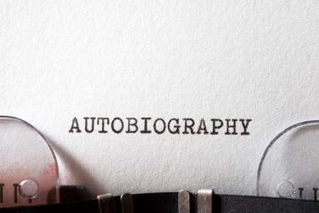 Autobiography word written with a typewriter.